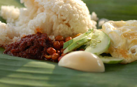 lemak: Popular Malaysia food rice with coconut milk and groundnuts