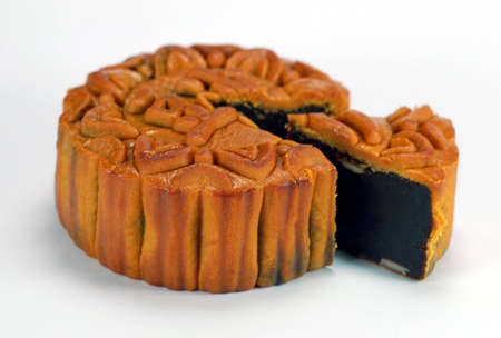 traditinal: red bean paste chinese moon cake which is must for mid-autumn festival