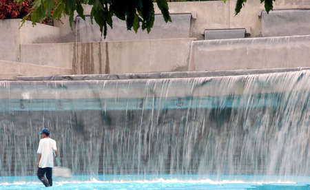 wading: wading pool in public park with cascading water falls