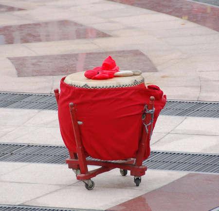 chinese drum: chinese ceremonial drum and stick Stock Photo