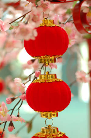 red lantern: chinese red lantern with colourful decoration