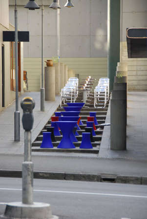 sandwish: sidewalk bistro seats showing colorful chairs