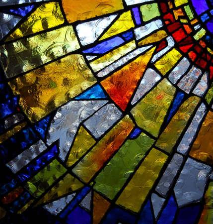 edificio cristal: panel de vidrieras de la iglesia Foto de archivo
