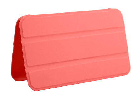 Case cover closed front for tablet on white background red 版權商用圖片