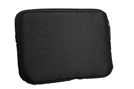 Tablet case cover bag black material zip pocket Stock Photo