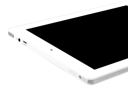 Tablet white on white background cutout isolated without screen side 版權商用圖片