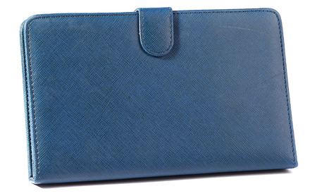 Blue case closed front for tablet on white background