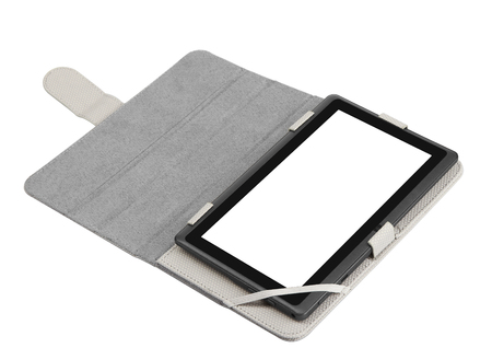 durable: Case cover closed front for tablet on white background grey