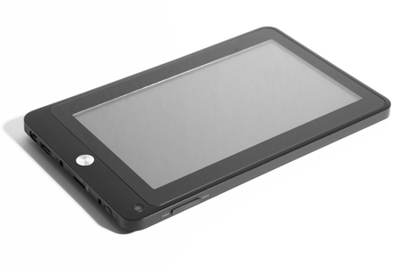 Tablet black on white background cutout isolated grey screen 版權商用圖片