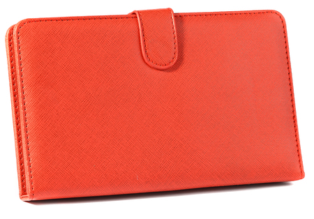 Red case closed front for tablet on white background