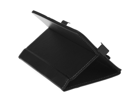 Black case open front left side for tablet on white background