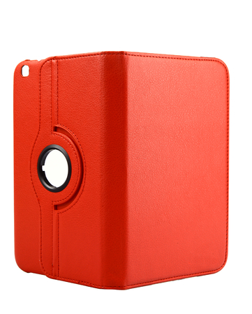 Red case open front for tablet on white background