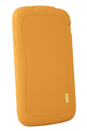 Tablet case orange silicone elastic on white background without no screen blank path