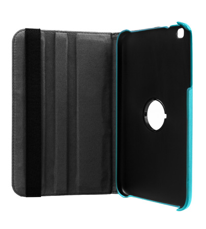 Blue case open front for tablet on white background Stock Photo