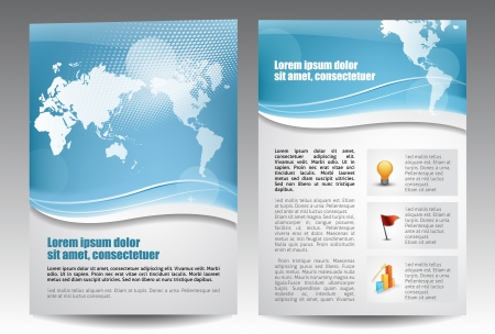Blue template for advertising brochure Vector