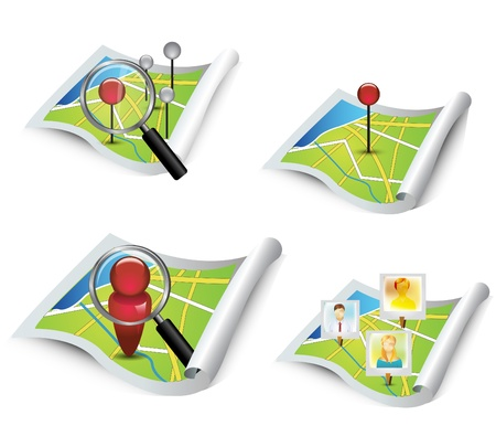 map pin: Map elements Illustration