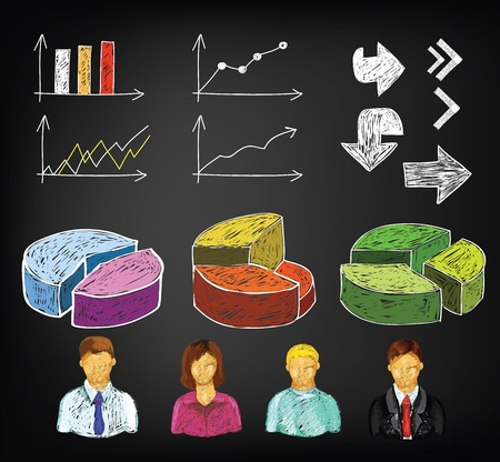 succes: Hand draw business charts and avatars  Illustration