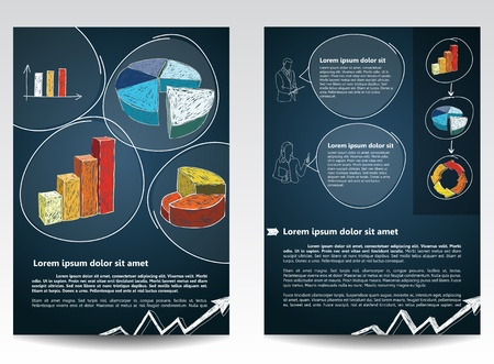 newsletter template: Template for advertising brochure with hand-drawn element