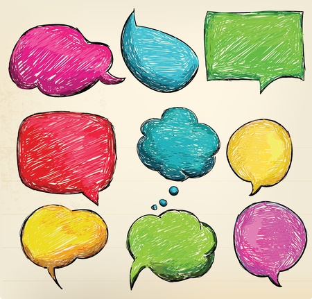 Hand-drawn, colorful speech bubbles Vector
