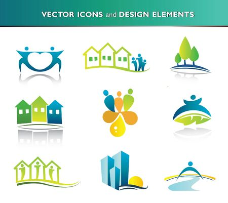 villages: Collection of abstract icons