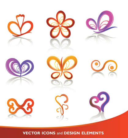 Floral icon set Stock Vector - 12491435