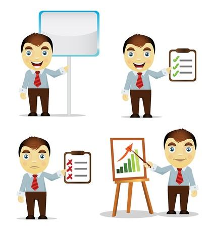 empresario triste: Conjunto de dibujos animados hombre de negocios hacer una presentaci�n