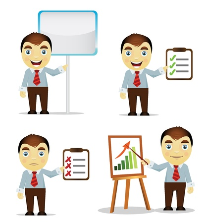 Set of cartoon business man give presentation Vector