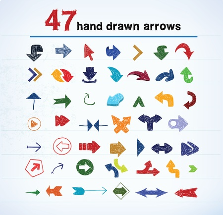 below: Hand drawn arrow set, vector illustration