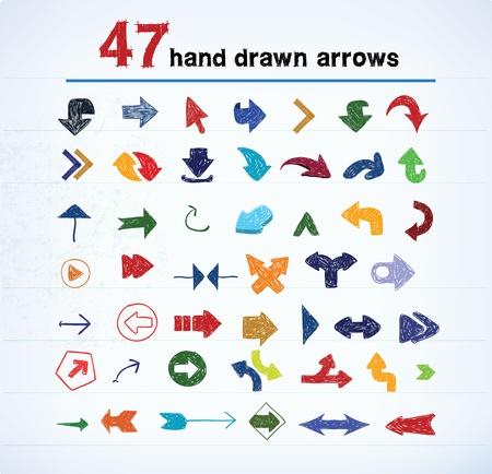 left hand: Hand drawn arrow set, vector illustration