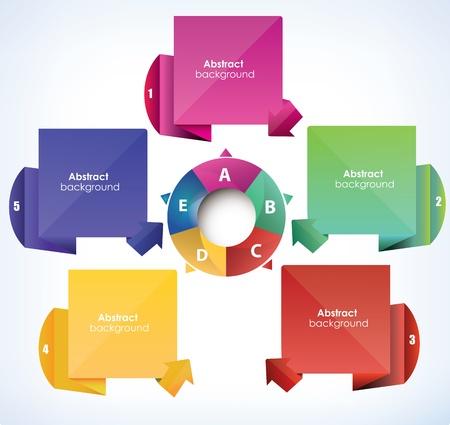 organization structure: vector diagram, five part, vector Illustration