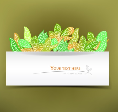 banner with leafs Vector