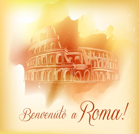 roma: Card from Roma, vector