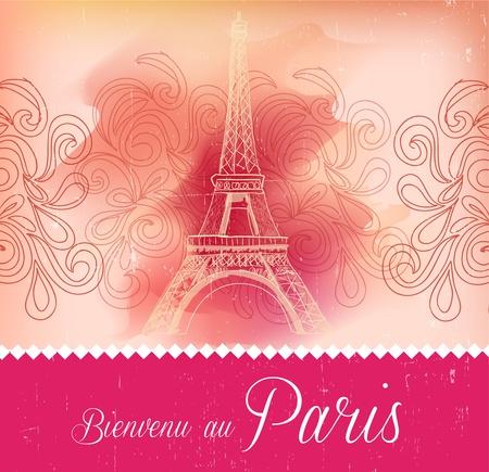 paris illustration: Greeting card from Paris