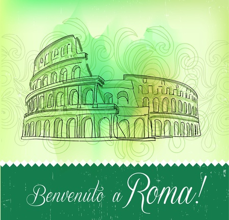 grandstand: Greeting Card from Roma, vector Illustration
