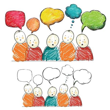 bocetos de personas: Cifras de mano de la cuerda con las burbujas del discurso, vector