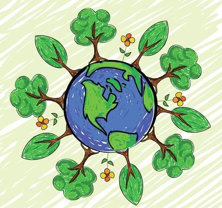 Green earth globe Illustration
