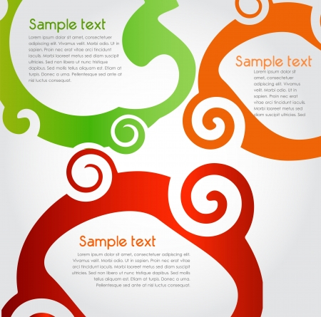 swirly design: Colorful text box, vector
