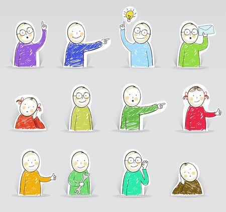 niños platicando: Figuras, ilustración vectorial Vectores