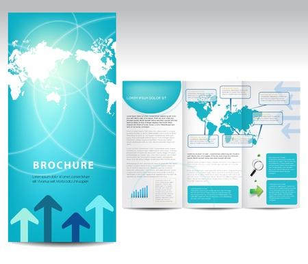 sjabloon: Blue brochure ontwerp, Stock Illustratie