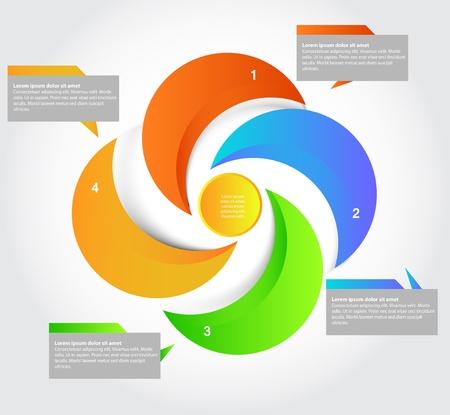 realization: Five parts presentation, vector Illustration