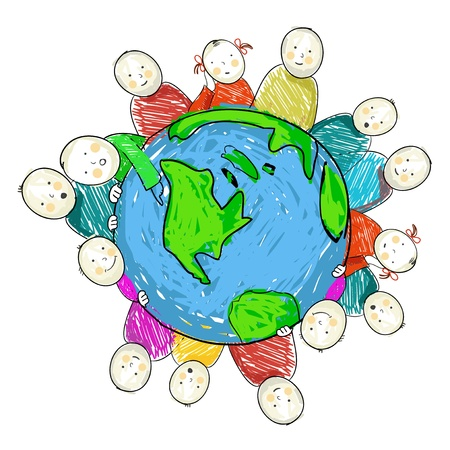 Earth with children, vector Vector