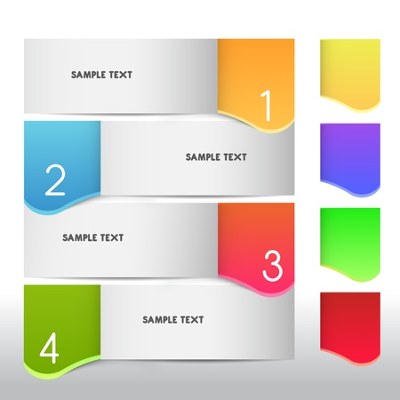 number button: text boxes, vector Illustration