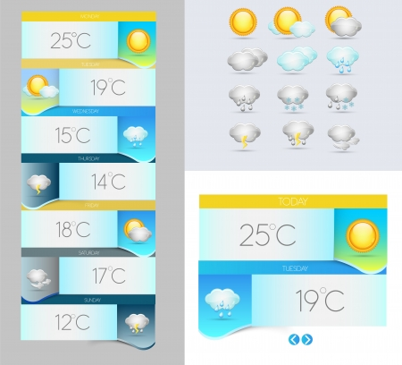 weather symbols: Vector Weather symbols and banners