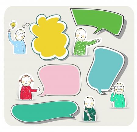 niños pensando: Las burbujas del discurso, vector