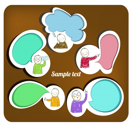 thinking bubble: figures with speech bubbles, vector