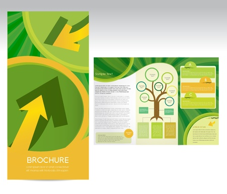 tri fold: Green brochure, vector Illustration