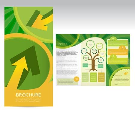 newsletter: Green brochure, vector Illustration