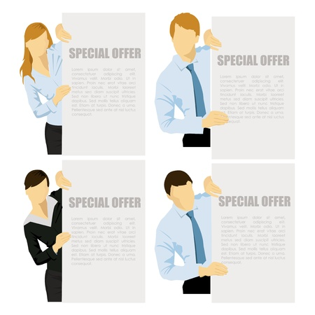 job offers: Business women and men showing blank banner, isolated