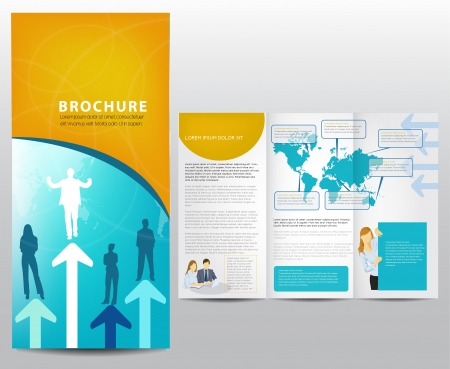 tri fold: Blue brochure design, illustration