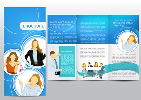 tri fold: Brochure with business figures Illustration